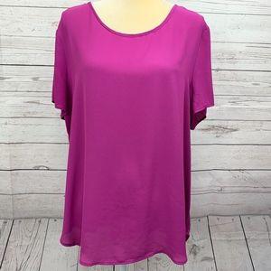 Pleione Purple Short Sleeve Popover Blouse Size XL
